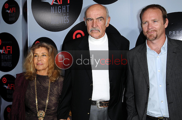Micheline Roquebrune with Sean Connery and Jason Connery<br />