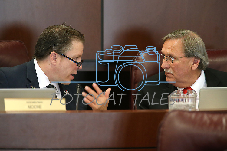 Nevada Assembly Republicans John Moore, left, and John Ellison work in committee at the Legislative Building in Carson City, Nev., on Wednesday, April 22, 2015. <br /> Photo by Cathleen Allison