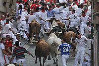 Fifth bull runing of San Fermin at Pamplona, with bulls of the ranch of Jandilla. July 11, 2016. (ALTERPHOTOS/Rodrigo Jimenez) /NortePhoto.com