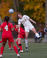 Boston College midfielder Zoe Lombard (20) heads a crossing pass. Boston College defeated Marist College, 6-1, in NCAA tournament play at Newton Campus Field, November 13, 2011.