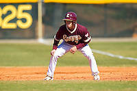 Marty Gantt #7 of the College of Charleston Cougars takes his lead off of first base against the Davidson Wildcats at Wilson Field on March 12, 2011 in Davidson, North Carolina.  The Wildcats defeated the Cougars 8-3.  Photo by Brian Westerholt / Four Seam Images