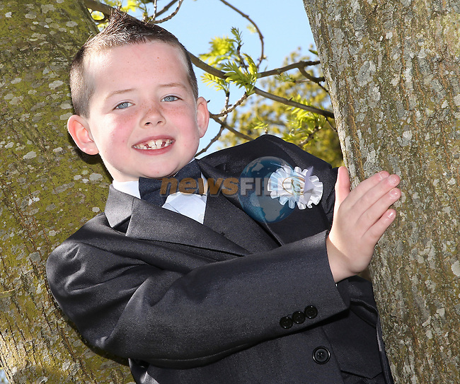 Aaron James pictured on his first communion day at Julianstown.
