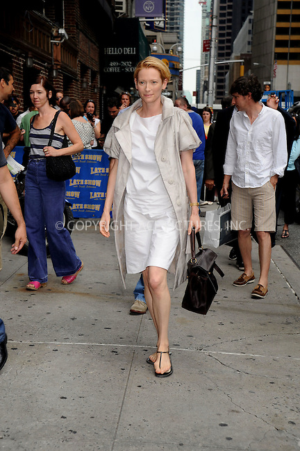 WWW.ACEPIXS.COM . . . . .  ....September 4, 2008. New York City.....Actress Tilda Swinton leaves 'The Late Show with David Letterman' at the Ed Sullivan Theater on September ......Please byline: Kristin Callahan - ACEPIXS.COM.... *** ***..Ace Pictures, Inc:  ..Philip Vaughan (646) 769 0430..e-mail: info@acepixs.com..web: http://www.acepixs.com