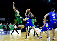 Saints' Nicholas Kay takes a rebound during the national basketball league match between Cigna Wellington Saints and Manawatu Jets at TSB Bank Arena in Wellington, New Zealand on Sunday, 16 June 2019. Photo: Dave Lintott / lintottphoto.co.nz