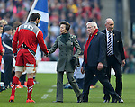 The Princess royal is greeted by Sam Warburton of Wales - RBS 6Nations 2015 - Scotland  vs Wales - BT Murrayfield Stadium - Edinburgh - Scotland - 15th February 2015 - Picture Simon Bellis/Sportimage