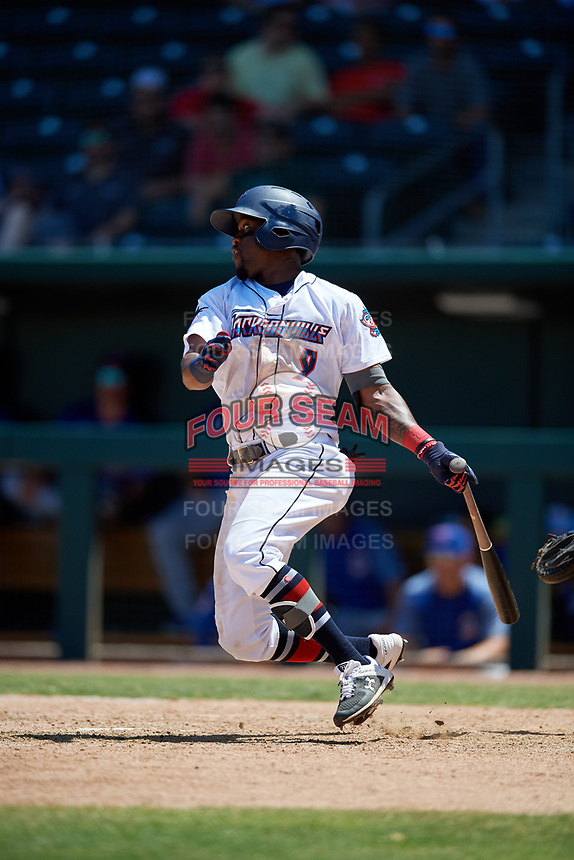 Jacksonville Jumbo Shrimp Anfernee Seymour (9) at bat during a Southern League game against the Tennessee Smokies on April 29, 2019 at Baseball Grounds of Jacksonville in Jacksonville, Florida.  Tennessee defeated Jacksonville 4-1.  (Mike Janes/Four Seam Images)