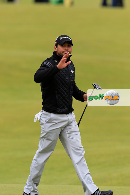 Jason DAY (AUS) taps in on the 18th green during Sunday's Round 3 of the 144th Open Championship, St Andrews Old Course, St Andrews, Fife, Scotland. 19/07/2015.<br /> Picture Eoin Clarke, www.golffile.ie