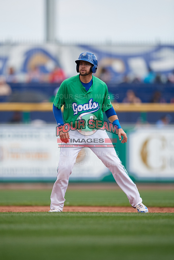 Hartford Yard Goats shortstop Ryan Metzler (8) leads off second base during a game against the Trenton Thunder on August 26, 2018 at Dunkin' Donuts Park in Hartford, Connecticut.  Trenton defeated Hartford 8-3.  (Mike Janes/Four Seam Images)