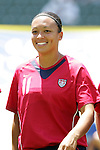 24 July 2005: U.S. midfielder Angela Hucles, pregame. The United States defeated Iceland 3-0 at the Home Depot Center in Carson, California in a Women's International Friendly soccer match.