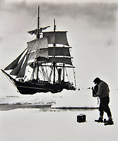 BNPS.co.uk (01202 558833)Pic: DominicWinterAuctions/BNPS<br /> <br /> Herbert Ponting photographing Terra Nova in pack ice (December 1910).<br /> <br /> A stuffed penguin collected by scientists during the Captain Scott's infamous expedition of Antarctica has turned up for sale 107 years later.<br /> <br /> The taxidermy Adelie penguin stands at 18.5ins and is a relic of the Terra Nova voyage that took place between 1910 and 1913.<br /> <br /> The expedition's doctor Edward Leicester Atkinson brought it back to Britain and later gifted it to Sir James Porter and his wife.<br /> <br /> Sir James, who was a Surgeon Vice-Admiral in the Royal Navy, kept the flightless bird and passed it down through is family.