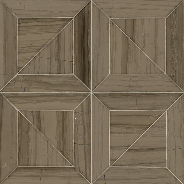 Truman, a stone waterjet mosaic  shown in Driftwood, is part of the Parquet Line by Sara Baldwin for New Ravenna Mosaics.