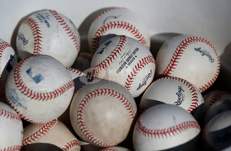 Feb. 12, 2013; Tempe, AZ, USA: Detailed view of baseballs during Los Angeles Angels spring training at Tempe Diablo Stadium. Mandatory Credit: Mark J. Rebilas-USA TODAY Sports