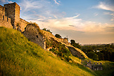 SERBIA, Belgrade, The walls of Belgrade Fortress at sunset, Eastern Europe