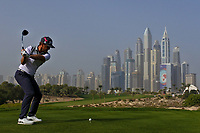 Pelle Edberg (SWE) on the 8th tee during Round 2 of the Omega Dubai Desert Classic, Emirates Golf Club, Dubai,  United Arab Emirates. 25/01/2019<br /> Picture: Golffile | Thos Caffrey<br /> <br /> <br /> All photo usage must carry mandatory copyright credit (© Golffile | Thos Caffrey)
