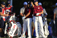 Patrick Reed &amp; Jordan Spieth (Team USA) on the 16th tee during Saturday afternoon Fourball at the Ryder Cup, Hazeltine National Golf Club, Chaska, Minnesota, USA.  01/10/2016<br /> Picture: Golffile | Fran Caffrey<br /> <br /> <br /> All photo usage must carry mandatory copyright credit (&copy; Golffile | Fran Caffrey)