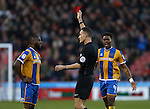Red card for Abu Ogogo of Shrewsbury Town during the English League One match at the Bramall Lane Stadium, Sheffield. Picture date: November 19th, 2016. Pic Simon Bellis/Sportimage