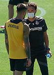 Getafe's coach Jose Bordalas (r) with Erick Cabaco during training session. June 5,2020.(ALTERPHOTOS/Acero)