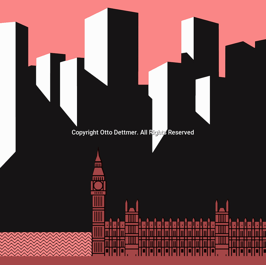 Big Ben with Houses of Parliament in front of skyscrapers ExclusiveArtist, ExclusiveImage