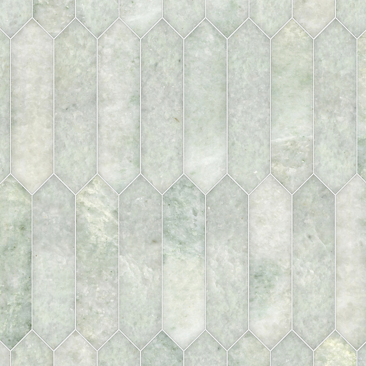 Picket, a hand-cut stone mosaic, shown in polished Ming Green, is part of the Semplice® collection for New Ravenna.