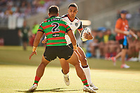 Ken Maumalo of the NZ Warriors, Rabbitohs v Vodafone Warriors, NRL rugby league premiership. Optus Stadium, Perth, Western Australia. 10 March 2018. Copyright Image: Daniel Carson / www.photosport.nz