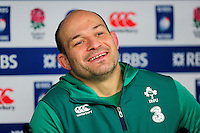 Ireland Rugby Captain Rory Best speaks to the press. Ireland Captain's Run on February 26, 2016 at Twickenham Stadium in London, England. Photo by: Patrick Khachfe / Onside Images