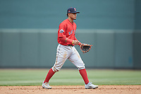 Salem Red Sox shortstop Santiago Espinal (5) on defense against the Winston-Salem Dash at BB&T Ballpark on April 22, 2018 in Winston-Salem, North Carolina.  The Red Sox defeated the Dash 6-4 in 10 innings.  (Brian Westerholt/Four Seam Images)