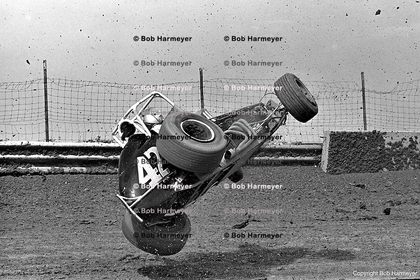 Frame #6 of Gary Bettenhausen's crash during a 1977 USAC race at Eldora Speedway near Rossburg, Ohio.