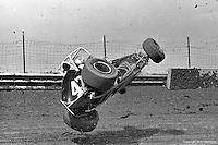 Frame #6 of Gary Bettenhausen's crash during a 1977 USAC race at Eldora Speedway near Rossburg, Ohio.