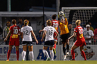 Sky Blue FC goalkeeper Brittany Cameron (1) grabs a pass intended for Western New York Flash forward Abby Wambach (20). The Western New York Flash defeated Sky Blue FC 2-0 during a National Women's Soccer League (NWSL) semifinal match at Sahlen's Stadium in Rochester, NY, on August 24, 2013.