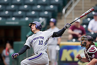 Walker Moses (10) of the Northwestern Wildcats follows through his swing during a game against the Missouri State Bears at Hammons Field on March 9, 2013 in Springfield, Missouri. (David Welker/Four Seam Images)