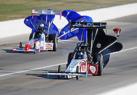 Sept. 5, 2010; Clermont, IN, USA; NHRA top fuel dragster driver Rod Fuller (right) alongside T.J. Zizzo during qualifying for the U.S. Nationals at O'Reilly Raceway Park at Indianapolis. Mandatory Credit: Mark J. Rebilas-