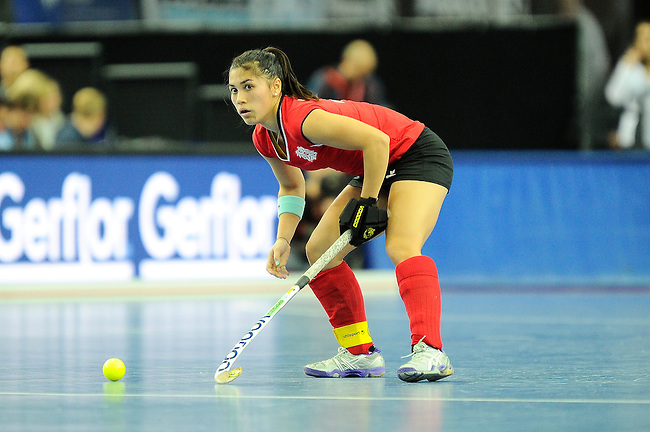 Leipzig, Germany, February 08: Kristine Vukovich #19 of Austria looks to pass during the women bronze medal match between Austria (red) and Czech Republic (blue) on February 8, 2015 at the FIH Indoor Hockey World Cup at Arena Leipzig in Leipzig, Germany. Final score 0-2 after shoot out (0-0). (Photo by Dirk Markgraf / www.265-images.com) *** Local caption ***