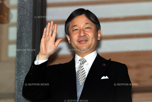 December 23, 2012, Tokyo, Japan - Crown Prince Naruhito, the heir to the Chrysanthemum Throne of Japan, waves to a throng of well-wishers from behind the bullet-proof glass panel of the Imperial Palace balcony in Tokyo on Sunday, December 23, 2012, on the 79th birthday of Emperor Akihoto. (Photo by AFLO) UUK -mis-