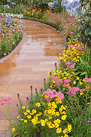 Garden Path for Curb Appeal using Achillea, Coreopsis, Agapanthus, Liatris, etc