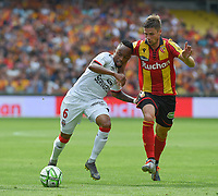 20190803 - LENS , FRANCE : Lens' Manuel Perez (R) and Guingamp's Lebogang Phiri (L) pictured during the soccer match between Racing Club de LENS and En Avant Guingamp , on the second matchday in the French Dominos pizza Ligue 2 at the Stade Bollaert Delelis stadium , Lens . Saturday 3 th August 2019 . PHOTO DIRK VUYLSTEKE | SPORTPIX.BE
