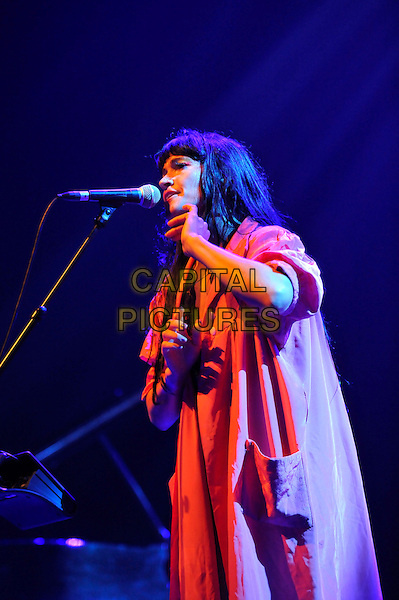 Sierra Casady of 'Cocorosie' .performing live in concert as part of the Meltdown Festival, Royal Festival Hall, Waterloo, London, England, UK, .4th August 2012..music gig half length microphone singing on stage orange shirt .CAP/MAR.© Martin Harris/Capital Pictures.