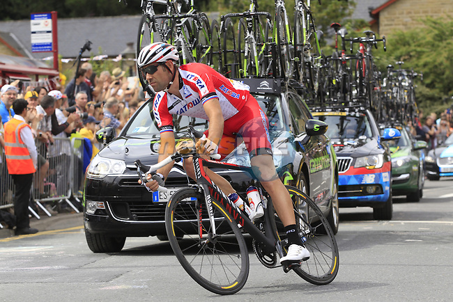 Vladimir Isaychev (RUS) Katusha on the rear of the peleton as it passes through the outskirts of Halifax during Stage 2 of the 2014 Tour de France running 200km from York to Sheffield. 6th July 2014.<br /> Picture: Eoin Clarke www.newsfile.ie