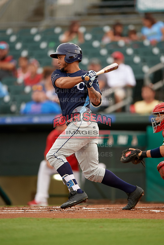 Charlotte Stone Crabs right fielder Angel Moreno (1) follows through on a swing during a game against the Palm Beach Cardinals on July 22, 2017 at Roger Dean Stadium in Palm Beach, Florida.  Charlotte defeated Palm Beach 5-2.  (Mike Janes/Four Seam Images)