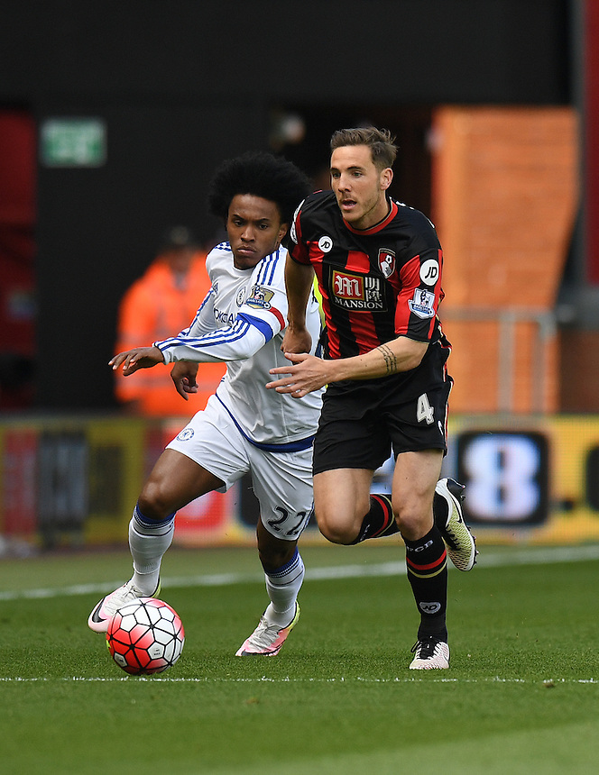 Chelsea's Willian (L) battles with  Bournemouth's Dan Gosling (R)<br /> <br /> Bournemouth 1 - 4 Chelsea 4<br /> <br /> Photographer David Horton/CameraSport<br /> <br /> Football - Barclays Premiership - Bournemouth v Chelsea - Saturday 23rd April 2016 - Vitality Stadium - Bournemouth<br /> <br /> &copy; CameraSport - 43 Linden Ave. Countesthorpe. Leicester. England. LE8 5PG - Tel: +44 (0) 116 277 4147 - admin@camerasport.com - www.camerasport.com