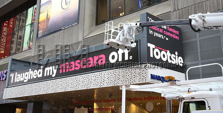 """Theatre Marquee unveiling for """"Tootsie"""" starring Santino Fontana, Lilli Cooper, Sarah Stiles, John Behlmann, Andy Grotelueschen, Julie Halston, Michael McGrath, and Reg Rogers at the Marquis Theatre on February 18, 2019 in New York City."""
