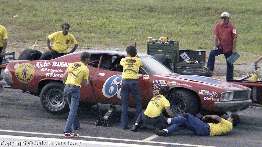 Buddy Arrington #67 Dodge Charger 14th place finish pits pit stop Southern 500 Darlington Raceway, Darlington SC, September 5, 1977.(Photo by Brian Cleary/www.bcpix.com)