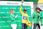 Race leader Nairo Quintana (COL) Movistar Team retains his lead at the end of Stage 4 of the 2016 Tour de Romandie, running 173.2km from Conthey to Villars, Switzerland. 30th April 2016.<br /> Picture: Heinz Zwicky | Newsfile<br /> <br /> <br /> All photos usage must carry mandatory copyright credit (© Newsfile | Heinz Zwicky)