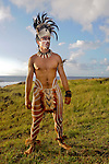 A Rapanui man poses in traditional dress on Easter Island on February 5, 2012.