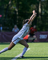 Newton, Massachusetts - September 24, 2017: NCAA Division I. Boston College (white) defeated Wake Forest University (black), 1-0, at Newton Campus Soccer Field.Goal celebration.