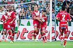 Stockholm 2014-07-28 Fotboll Superettan Hammarby IF - Assyriska FF :  <br /> Assyriskas Jens Jakobsson har gjort 1-1 och jublar med Hezha Agai <br /> (Foto: Kenta J&ouml;nsson) Nyckelord:  Superettan Tele2 Arena Hammarby HIF Bajen Assyriska AFF jubel gl&auml;dje lycka glad happy