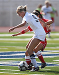 Nevada's Annabelle Allen fights for the ball with UNLV's Courtney Botelho during a soccer game in Reno, Nev., on Sunday, Sept. 3, 2011..Photo by Cathleen Allison