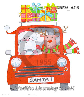 Kate, CHRISTMAS ANIMALS, WEIHNACHTEN TIERE, NAVIDAD ANIMALES, paintings+++++Santa drives into town,GBKM416,#xa#