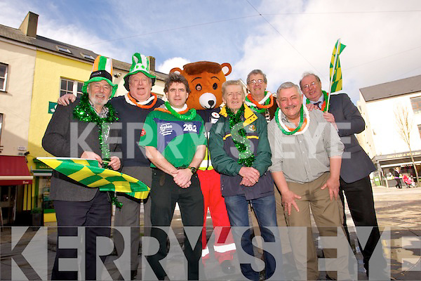 Johnny Wall, Danny Leane, Marcus Howlett , Red Freddy (Red Cross Mascot) , Michael Gaffney, Mayor of Tralee Pat Hussey, Sean Lyons and John Griffin launch the 2014 Tralee St. Patricks Day Parade