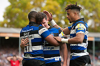 Aled Brew of Bath Rugby celebrates his try with team-mates Freddie Burns and Anthony Watson. Aviva Premiership match, between Bath Rugby and Worcester Warriors on October 7, 2017 at the Recreation Ground in Bath, England. Photo by: Patrick Khachfe / Onside Images