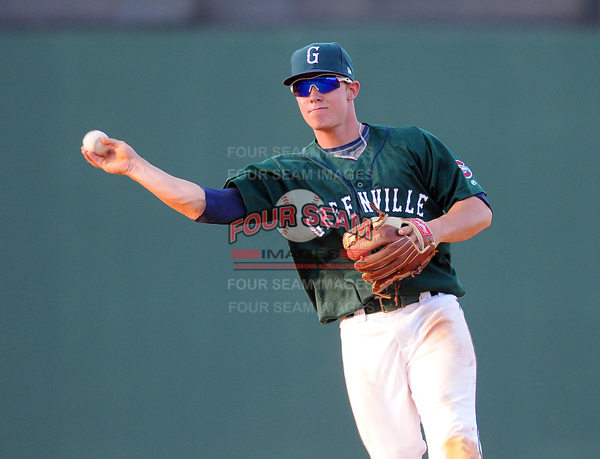 Infielder Sean Coyle (5) of the Greenville Drive, Class A affiliate of the Boston Red Sox, in a game against the Augusta GreenJackets on April 10, 2011, at Fluor Field at the West End in Greenville, South Carolina. (Tom Priddy / Four Seam Images)